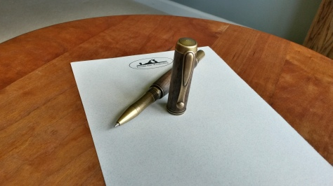 """""""Jr George"""" Rollerball with Antique Brass plating and Walnut Body"""