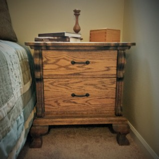 Oak Two-Drawer Nightstand, English Chestnut Stain