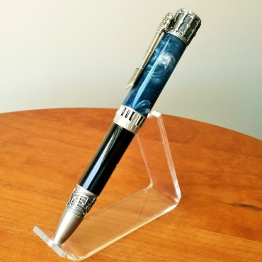 """Music-Themed Twist Pen with Antique Pewter Plating and """"Blue Steel"""" & Black Acrylic Body"""